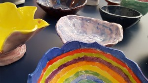 Students created these beautiful bowls to call attention to hunger in our community and the world.